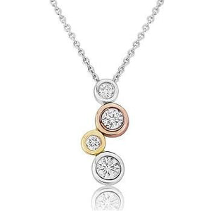 18K White, Yellow & Rose Gold Diamond Drop Pendant 0.15CTW - Pobjoy Diamonds