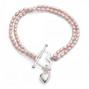 Twin Strand Oval Pink Freshwater Pearl Bracelet - [product_type] - Pobjoy Diamonds - Pobjoy Diamonds
