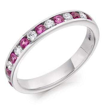 18K White Gold Pink Sapphire Half Eternity Ring 0.60 CTW - Pobjoy Diamonds
