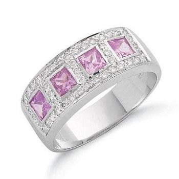 9K White Gold Pink Sapphire Ring - Pobjoy Diamonds