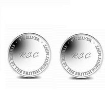 Load image into Gallery viewer, Sterling SIlver or 9K Gold Pobjoy Coin Style Cufflinks Personalised