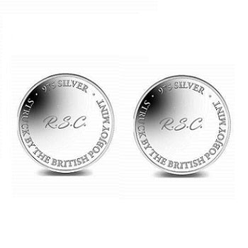 Sterling SIlver or 9K Gold Pobjoy Coin Style Cufflinks Personalised