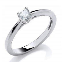 Load image into Gallery viewer, 18K White Gold 0.25 Princess Cut Solitaire Diamond Ring H/Si1