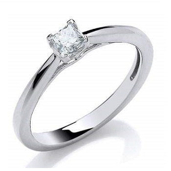18K White Gold 0.25 Princess Cut Solitaire Diamond Ring H/Si1