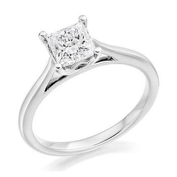 18K White Gold 0.50 Carat Princess Cut Lab Grown Ring F/VS1 - Pobjoy Diamonds