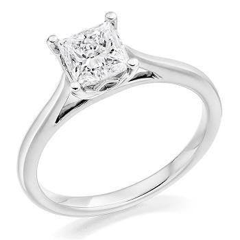 18K Gold 1.30 Carat Princess Cut Solitaire Lab Grown Diamond Ring F/VS1 - Pobjoy Diamonds