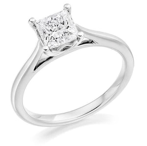 18K White Gold Princess Cut Solitaire Diamond Ring 1.00 Carat - Pobjoy Diamonds