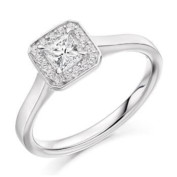 950 Platinum 0.48 CTW Princess Cut Halo Diamond Ring