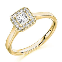 Load image into Gallery viewer, 18K Yellow Gold 0.48 CTW Princess Cut Halo Diamond Ring
