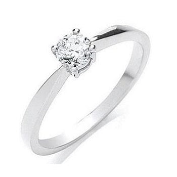 18K White Gold 0.35 Carat Round Brilliant Cut Solitaire Diamond Ring G/Si1