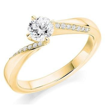 18K Yellow Gold Round Brilliant Cut Diamond & Shoulder Engagement Ring 0.60 CTW - Pobjoy Diamonds