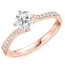 Load image into Gallery viewer, 18K Rose Gold Round Brilliant Cut Diamond & Shoulder Engagement Ring 0.75 CTW - Pobjoy Diamonds