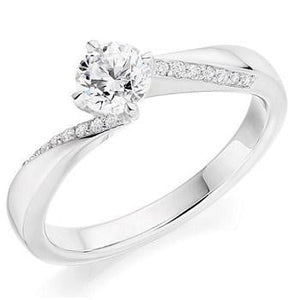 950 Platinum Round Brilliant Cut Diamond & Shoulder Engagement Ring 0.60 CTW - Pobjoy Diamonds