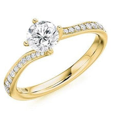 Load image into Gallery viewer, 18K Yellow Gold Round Brilliant Cut Diamond & Shoulder Engagement Ring 0.75 CTW - Pobjoy Diamonds