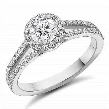 18K White Gold Round Brilliant Cut Halo Diamond Ring 0.90 CTW - Tuscany F/VS1