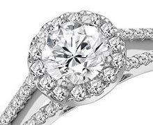 Load image into Gallery viewer, 950 Platinum Round Brilliant Cut Halo Diamond Ring 0.90-1.00 CTW - Pobjoy Diamonds