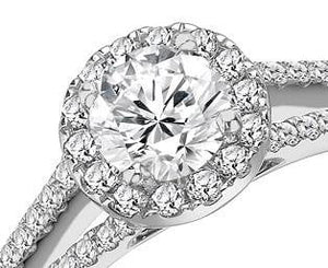 950 Platinum Round Brilliant Cut Halo Diamond Ring 0.90-1.00 CTW - Pobjoy Diamonds