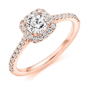 18K Gold Round Brilliant Cut 0.75 CTW Halo Diamond Engagement Ring F/VS2 & G/Si - Pobjoy Diamonds