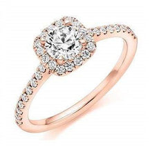 Load image into Gallery viewer, 18K Gold Round Brilliant Cut 0.75 CTW Halo Diamond Engagement Ring F/VS2