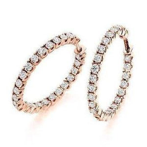 18K gold claw set 1.00 carat diamond hoop earrings-Pobjoy Diamonds