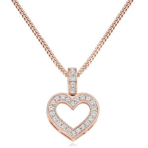 18K Rose Gold & Diamond Grain Set Heart Pendant Pobjoy Diamonds