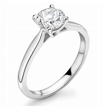Bespoke Platinum Solitaire Round Brilliant Cut 1.00 to 1.50 Carat Diamond Rings. Prices From