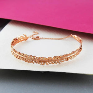 Handmade 18K Rose Gold Plated On Silver Fern Bangle - Pobjoy Diamonds