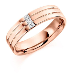 18K Rose Gold & Diamond Gents Ring F-G/VS - Pobjoy Diamonds