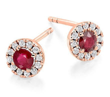 Load image into Gallery viewer, Ruby & Round Brilliant Cut Diamond Ladies Stud Earrings 0.98 CTW