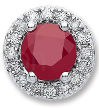 Load image into Gallery viewer, Ruby & Diamond 9K  White Gold Round Stud Earrings - Pobjoy Diamonds
