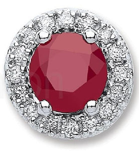 Ruby & Diamond 9K  White Gold Round Stud Earrings - Pobjoy Diamonds