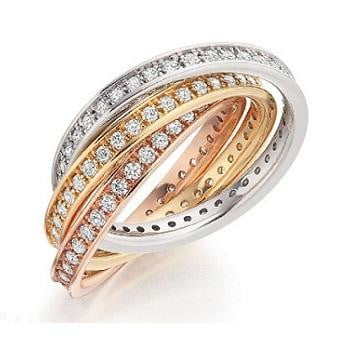 18K Russian Style Full Eternity Ring With 1.50 Carats of Brilliant Round Cut Diamonds