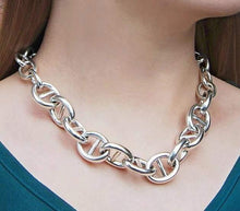 Load image into Gallery viewer, Handmade Chunky Silver Circle Link Necklace