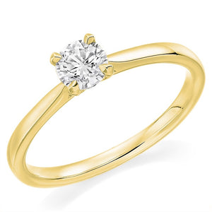 18K Gold 0.50 Carat Round Brilliant Cut Solitaire Diamond Engagement Ring - Riviera
