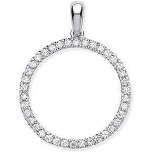 9K White Gold & Diamond Circular Pendant From Pobjoy