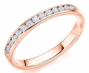 18K Rose Gold Half 0.3 CTW Diamond Eternity Ring - Pobjoy Diamonds