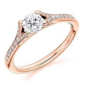 18K Gold & Diamond Set Shoulder Solitaire Engagement Ring Pobjoy Diamonds