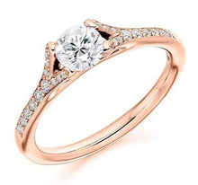Load image into Gallery viewer, 18K Gold & Diamond Set Shoulder Solitaire Engagement Ring 0.70 CTW F-G/VS-Pobjoy Diamonds