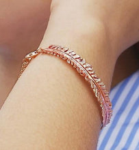 Load image into Gallery viewer, Handmade 18K Rose Gold Plated On Silver Fern Bangle