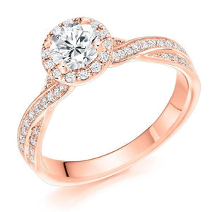 18K Rose Gold 1.30 CTW Diamond Halo & Shoulder Ring - Pobjoy Diamonds