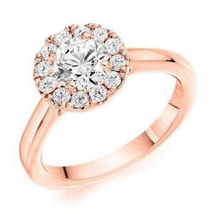 18K Rose Gold 0.85 CTW Halo Diamond Ring
