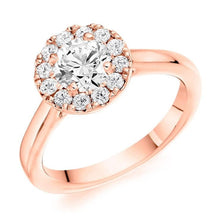 Load image into Gallery viewer, 18K Rose Gold 0.85 CTW Halo Diamond Ring