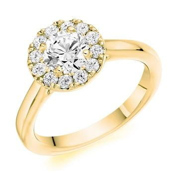 18K Yellow Gold 0.85 CTW Halo Diamond Ring