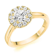 Load image into Gallery viewer, 18K Yellow Gold 0.85 CTW Halo Diamond Ring