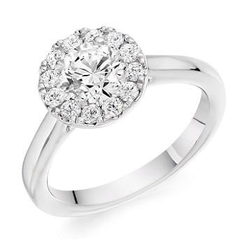 950 Palladium 0.85 CTW Halo Diamond Ring