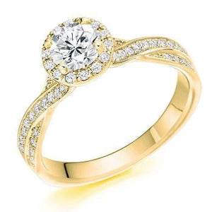 18K Yellow Gold 1.30 CTW Diamond Halo & Shoulder Ring From Pobjoy Diamonds