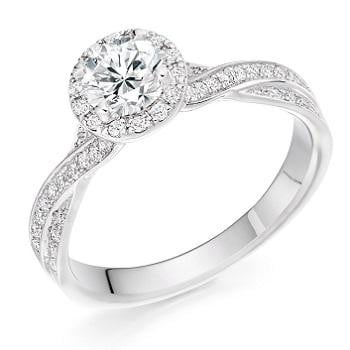 950 Platinum 1.30 CTW Diamond Halo & Shoulder Ring