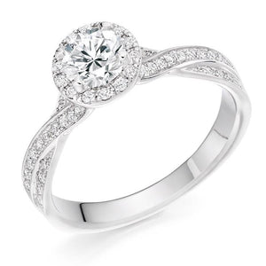 950 Platinum 1.30 CTW Diamond Halo & Shoulder Ring From Pobjoy Diamonds