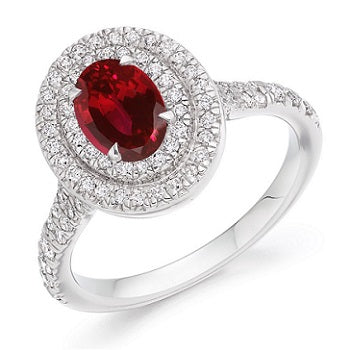 18K White Gold Oval Ruby & Diamond Cluster Ring - 1.40 CTW