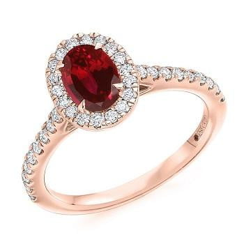 18K Rose Gold Ruby & Diamond Halo & Shoulders Engagement Ring F-G/VS - Pobjoy Diamonds